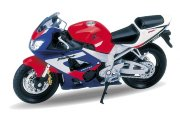Модель мотоцикла Honda CBR 900RR Fireblade, 1:18, сине-красная, Welly [12164PW]